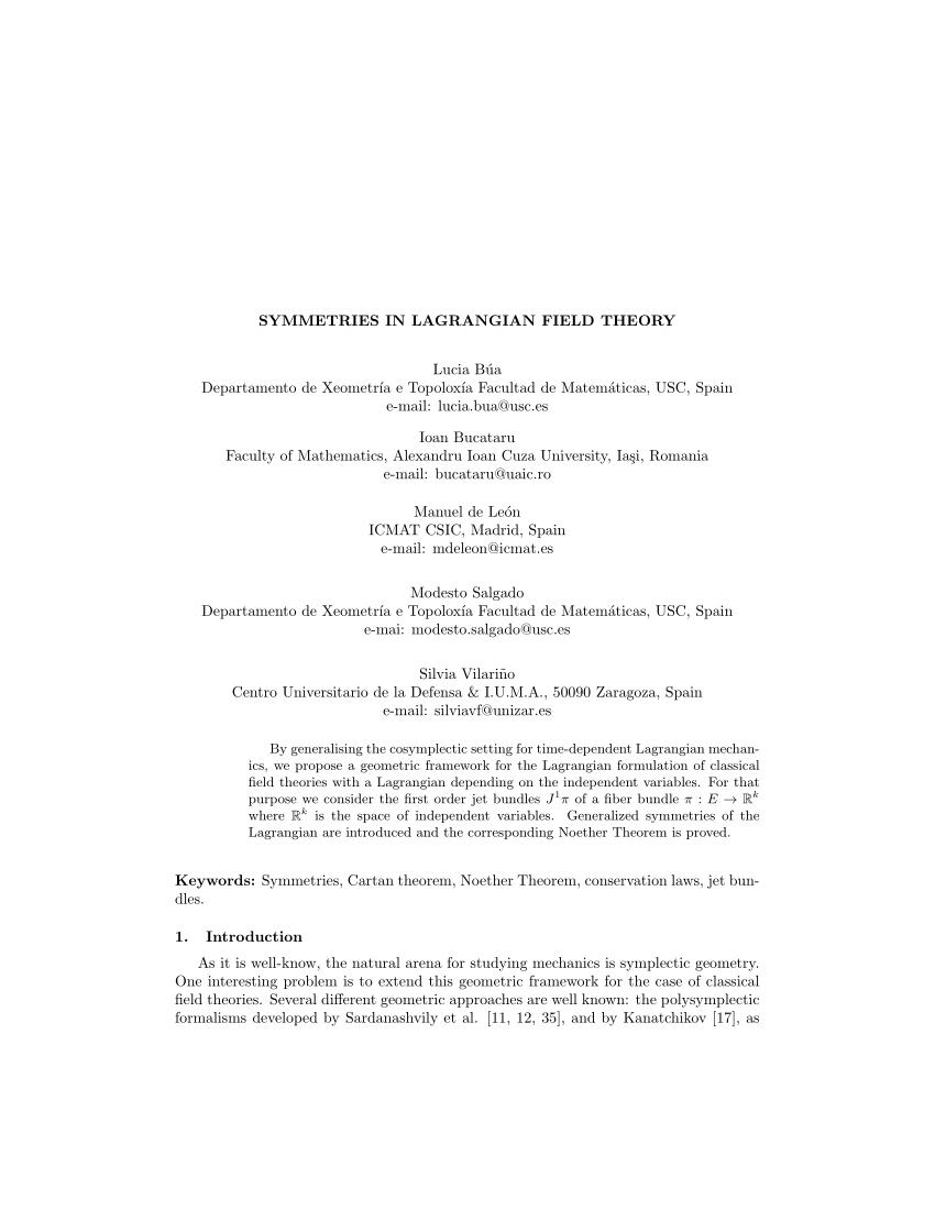 (PDF) Symmetries in Lagrangian Field Theory