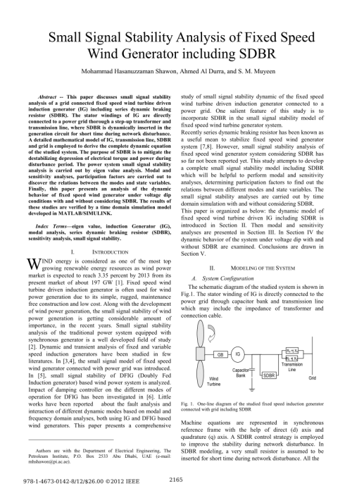 small resolution of stability improvement of wind farms with fixed speed turbine generators using breaking resistors request pdf