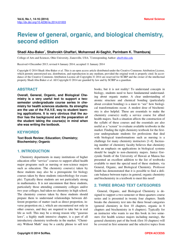 Pdf Review Of General Organic And Biological Chemistry Second Edition
