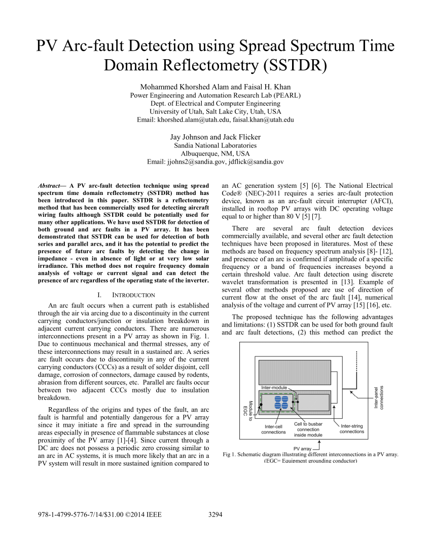 hight resolution of  pdf pv arc fault detection using spread spectrum time domain reflectometry sstdr