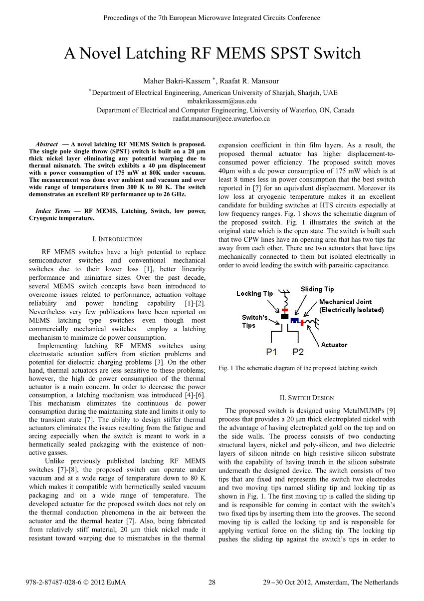 hight resolution of  pdf a novel latching rf mems spst switch