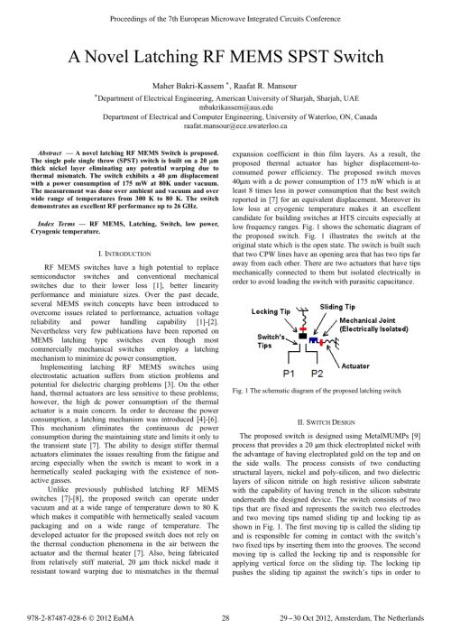 small resolution of  pdf a novel latching rf mems spst switch