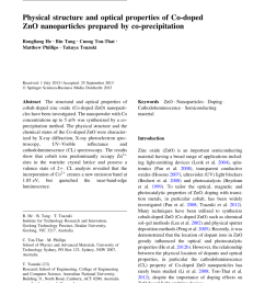 pdf physical structure and optical properties of co doped zno nanoparticles prepared by co precipitation [ 850 x 1146 Pixel ]