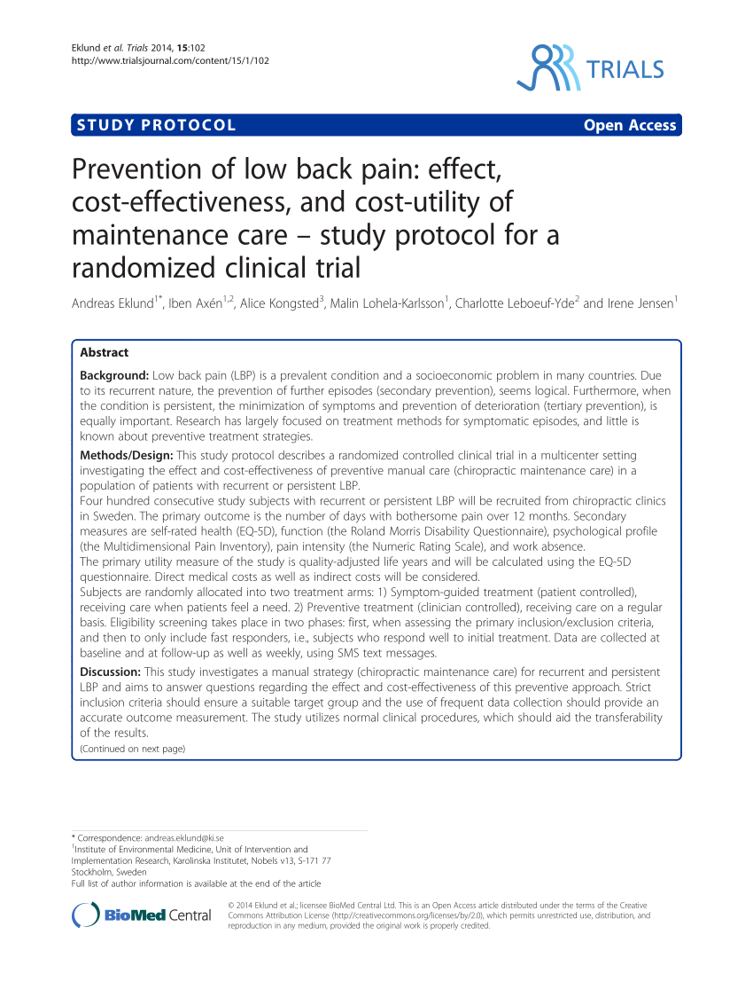 Prevention of Low Back Pain: Effect, Cost-effectiveness, and Cost-utility of Maintenance Care – Study Protocol for a Randomized Clinical Trial