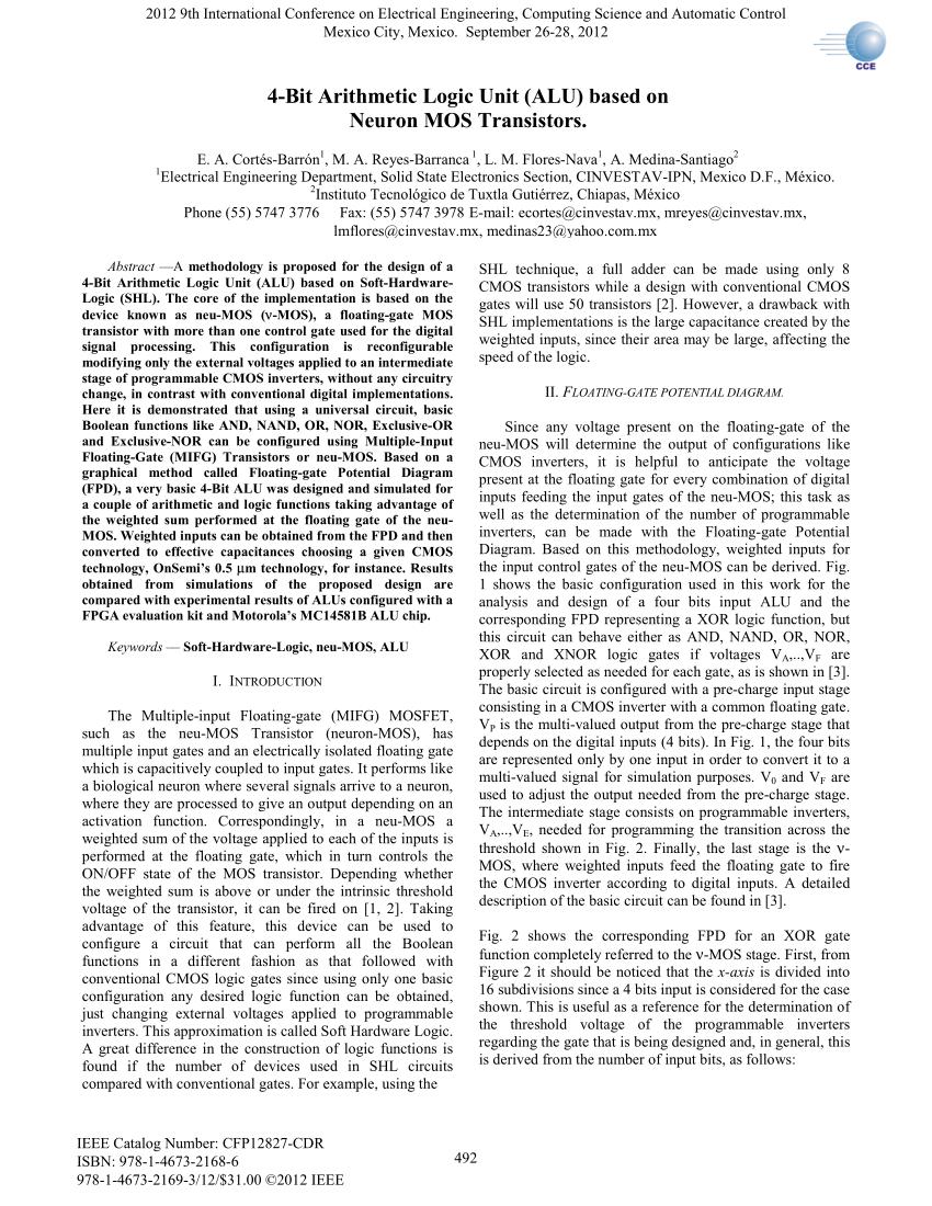 hight resolution of  pdf 4 bit arithmetic logic unit alu based on neuron mos transistors