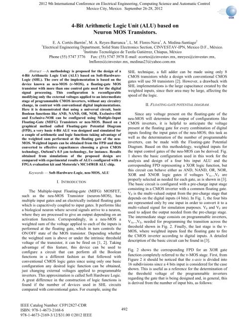 small resolution of  pdf 4 bit arithmetic logic unit alu based on neuron mos transistors