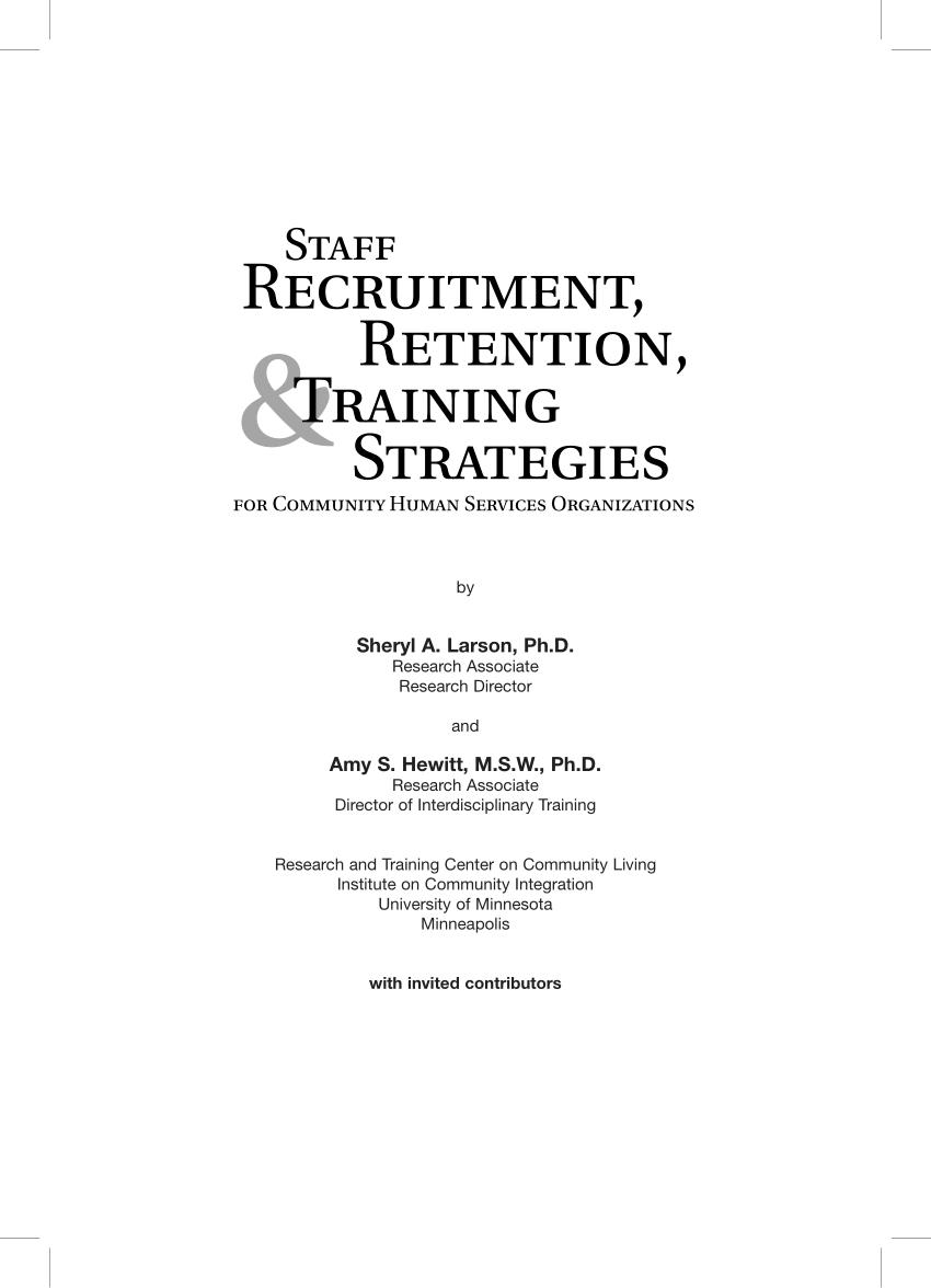 PDF) Staff Recruitment, Retention, & Training...