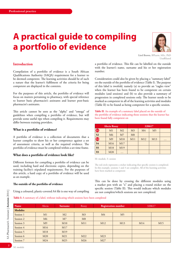 PDF) A practical guide to compiling a portfolio of evidence