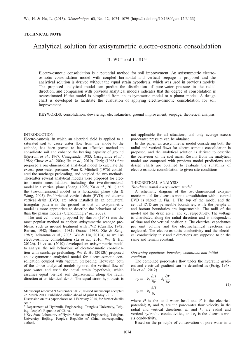 (PDF) Analytical solution for axisymmetric electro-osmotic