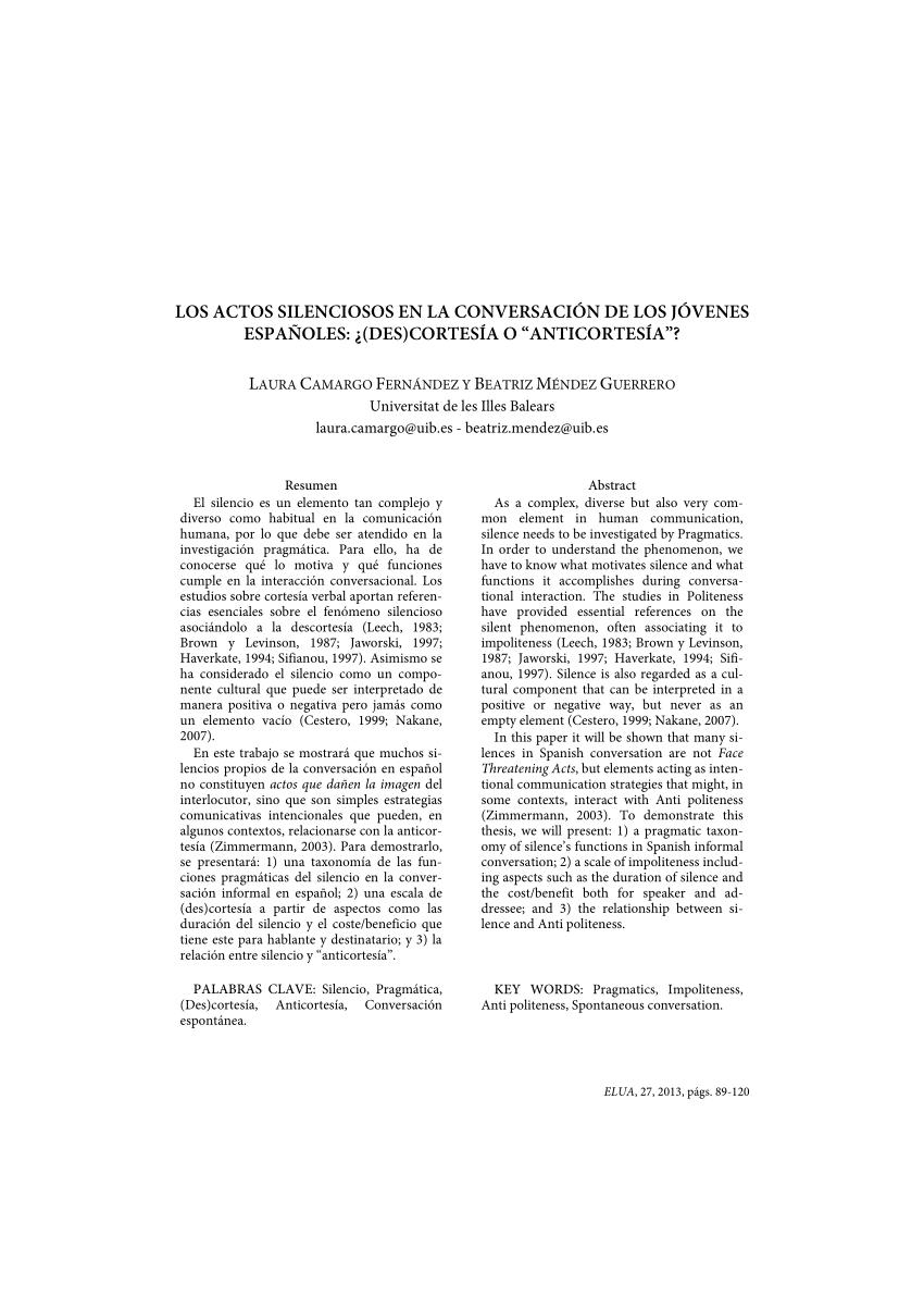 (PDF) Los actos silenciosos en la conversación de los