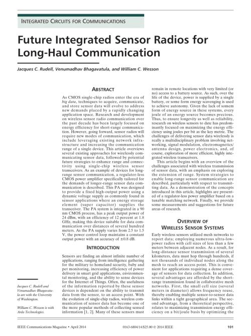 small resolution of  pdf future integrated sensor radios for long haul communication