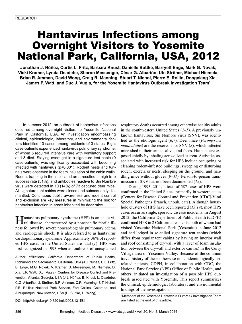 PDF) Hantavirus Infections among Overnight Visitors to Yosemite ...