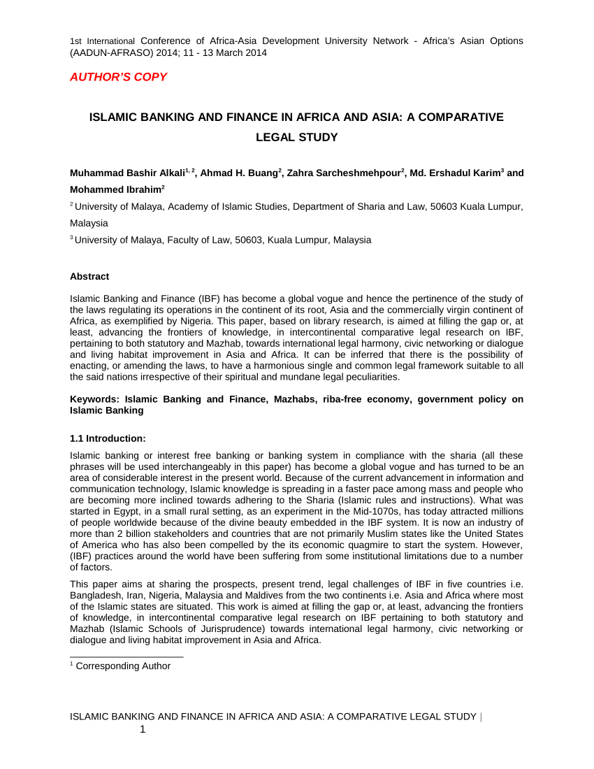 (PDF) Islamic Banking and Finance in Africa and Asia: A Comparative Legal Study