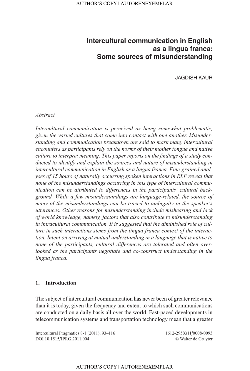 PDF Intercultural communication in English as a lingua franca Some sources of misunderstanding