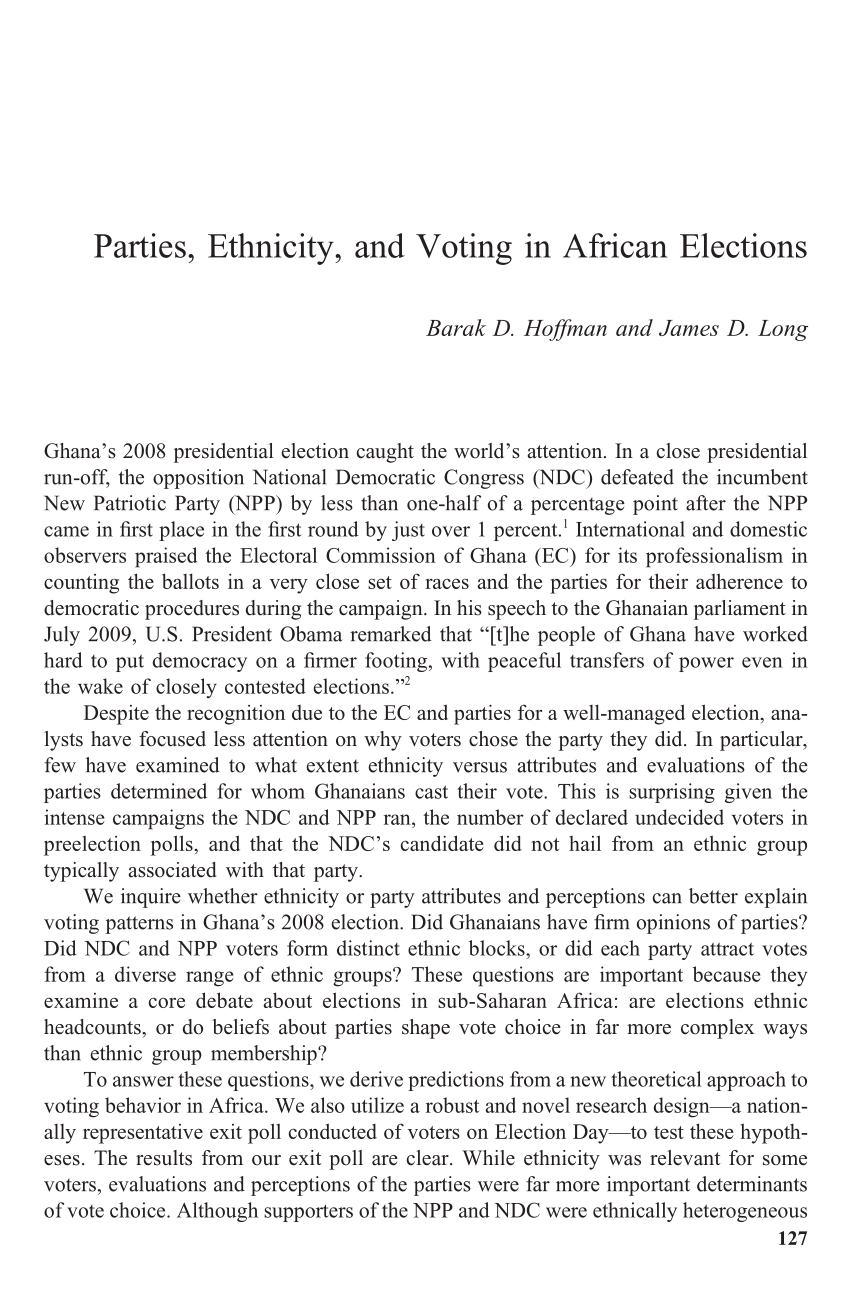 Parties Ethnicity And Voting In African PDF Download Available