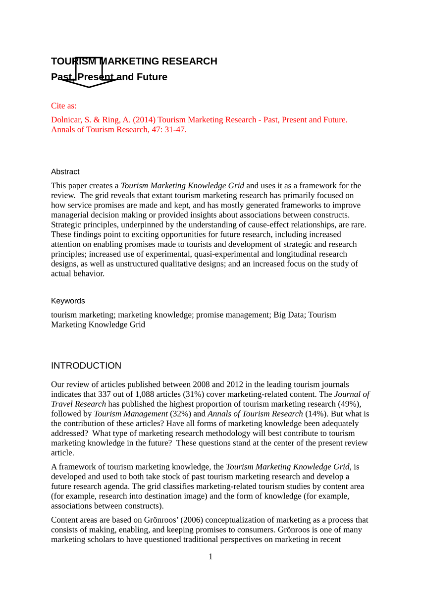 PDF Tourism Marketing Research Past Present And Future