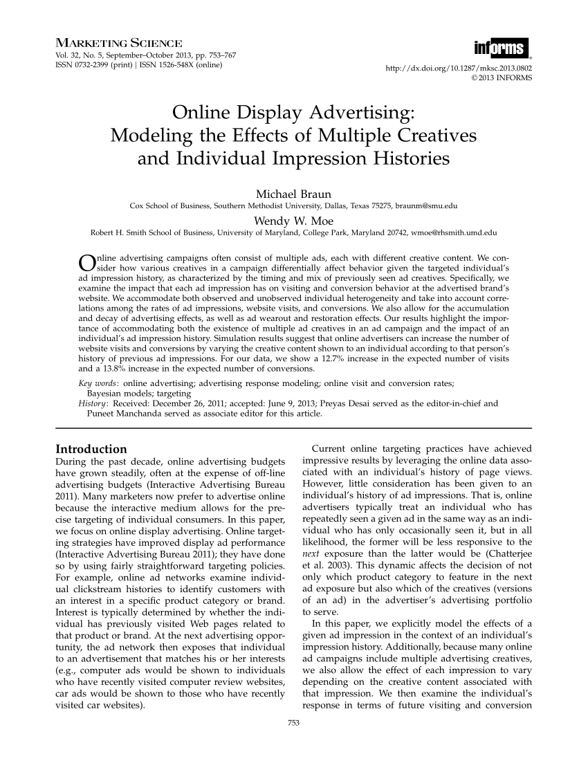 pdf online display advertising modeling the effects of multiple creatives and individual impression histories