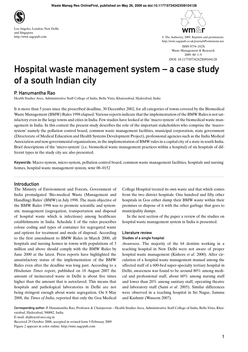 medium resolution of  pdf hospital waste management system a case study of a south indian city