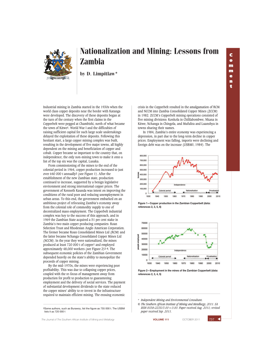(PDF) Nationalization and Mining: Lessons from, Zambia