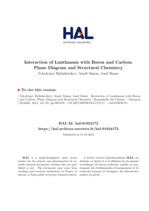 small resolution of  pdf interaction of lanthanum with boron and carbon phase diagram and structural chemistry