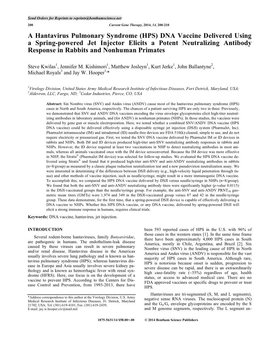 PDF) A Hantavirus Pulmonary Syndrome (HPS) DNA Vaccine Delivered ...