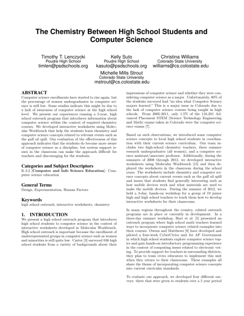 small resolution of PDF) The Chemistry Between High School Students and Computer Science