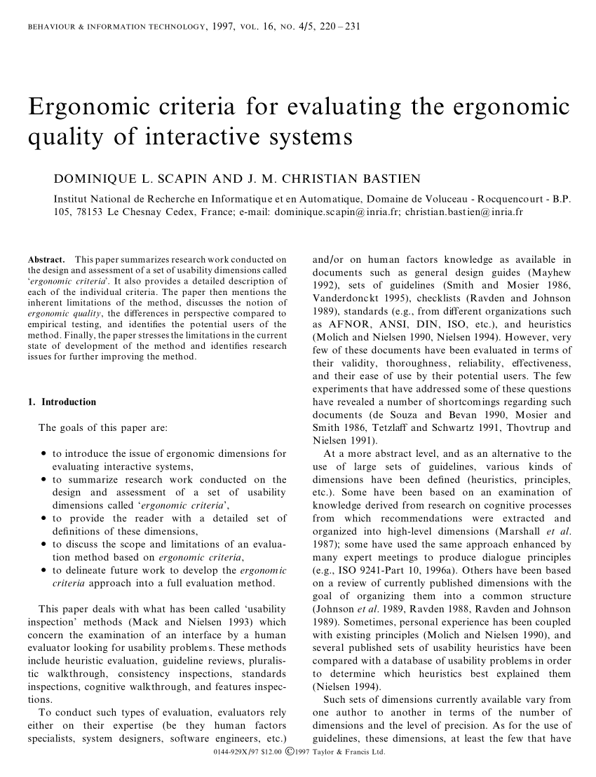 ergonomic chair là gì wing covers canada pdf criteria for evaluating the quality of interactive systems