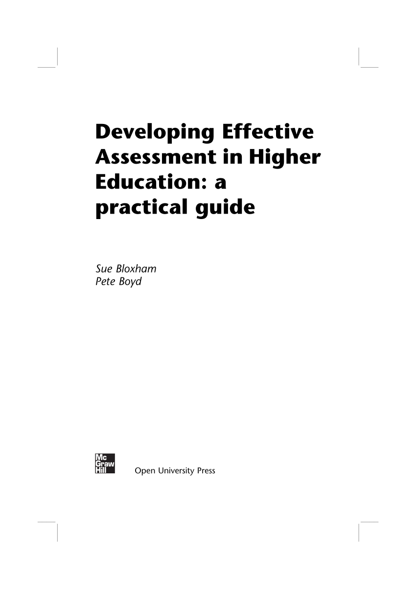 (PDF) Developing Effective Assessment in Higher Education