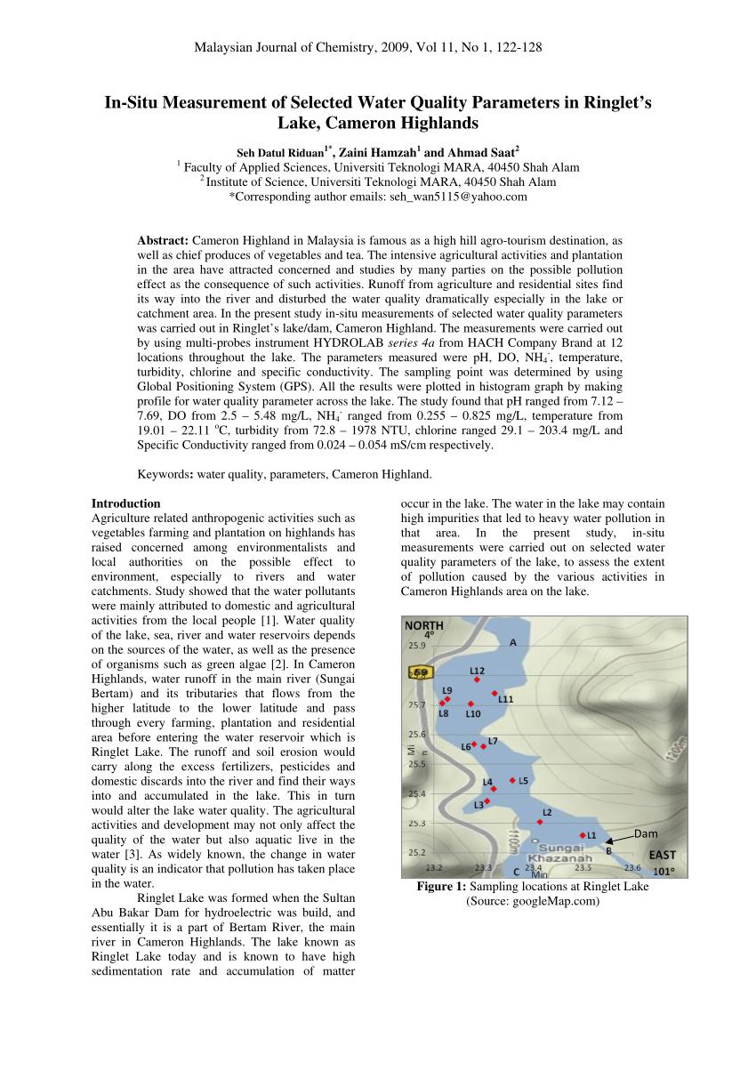 In Situ Adalah : adalah, In-Situ, Measurement, Selected, Water, Quality, Parameters, Ringlet's, Lake,, Cameron, Highlands