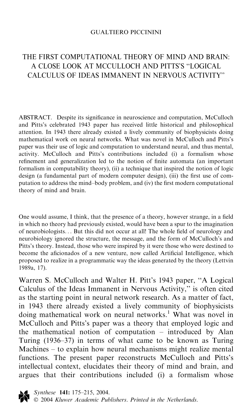 medium resolution of  pdf the first computational theory of mind and brain a close look at mcculloch and pitts s logical calculus of ideas immanent in nervous activity