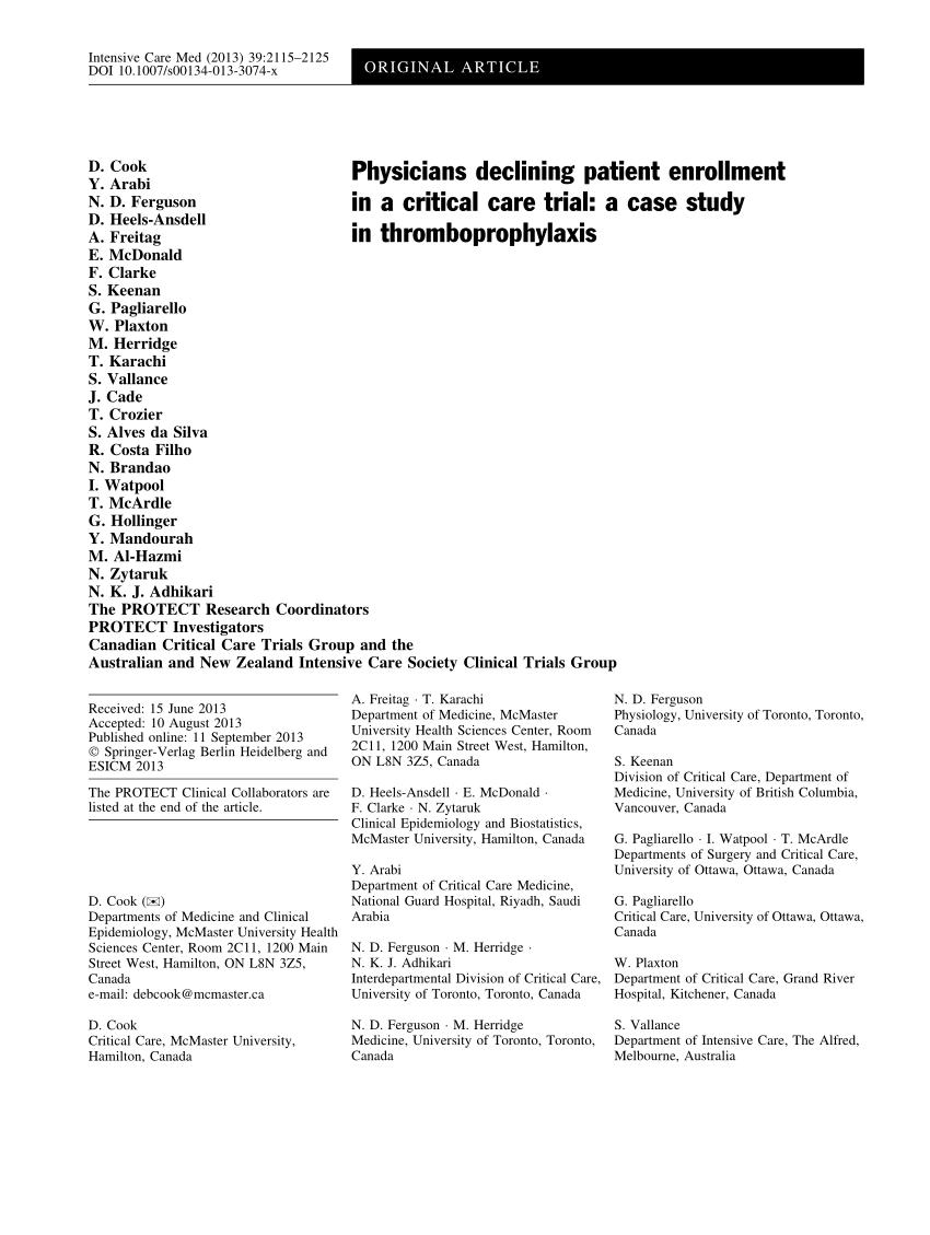 (PDF) Physicians declining patient enrollment in a