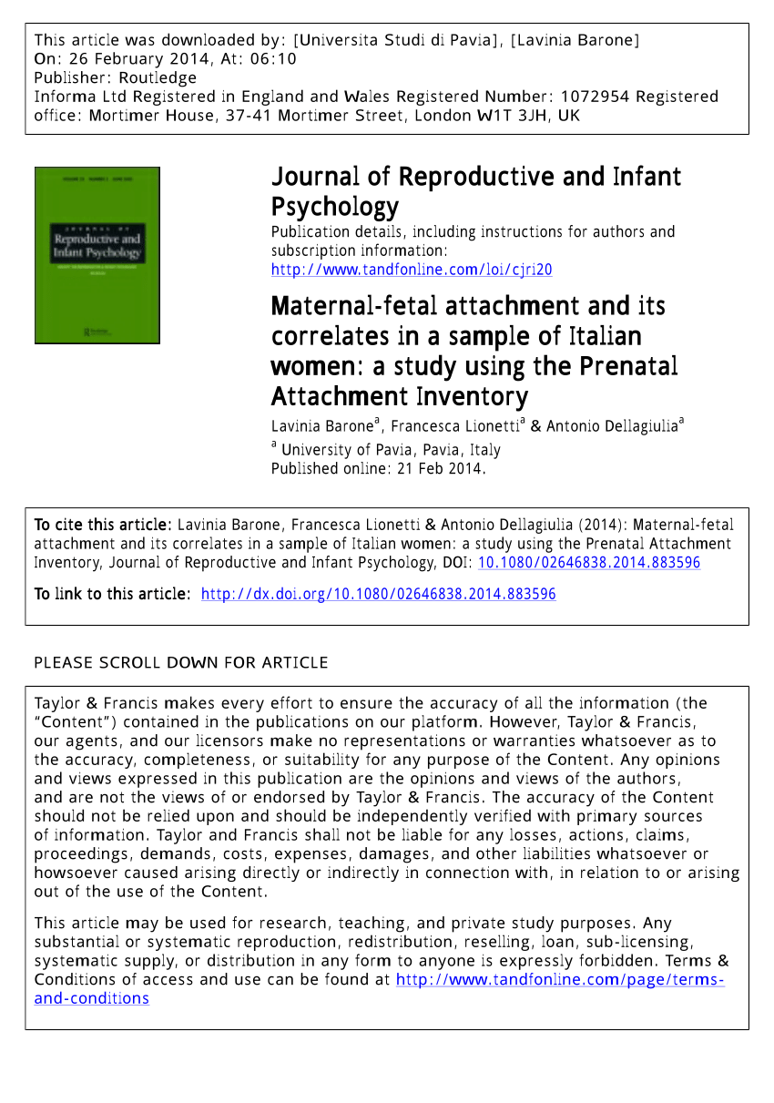 PDF Maternal Fetal Attachment And Its Correlates In A