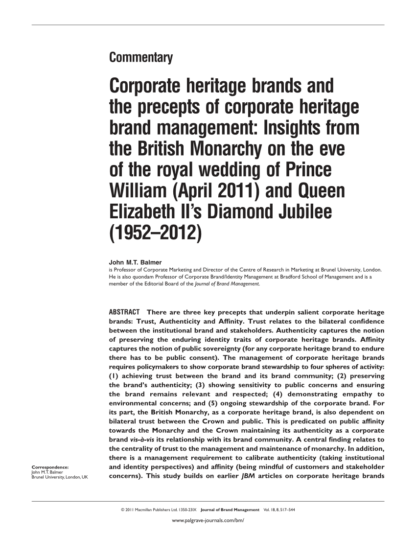 medium resolution of  pdf corporate heritage brands and the precepts of corporate heritage brand management insights from the british monarchy on the eve of the royal wedding