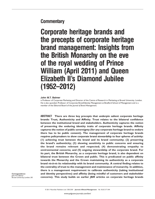 small resolution of  pdf corporate heritage brands and the precepts of corporate heritage brand management insights from the british monarchy on the eve of the royal wedding