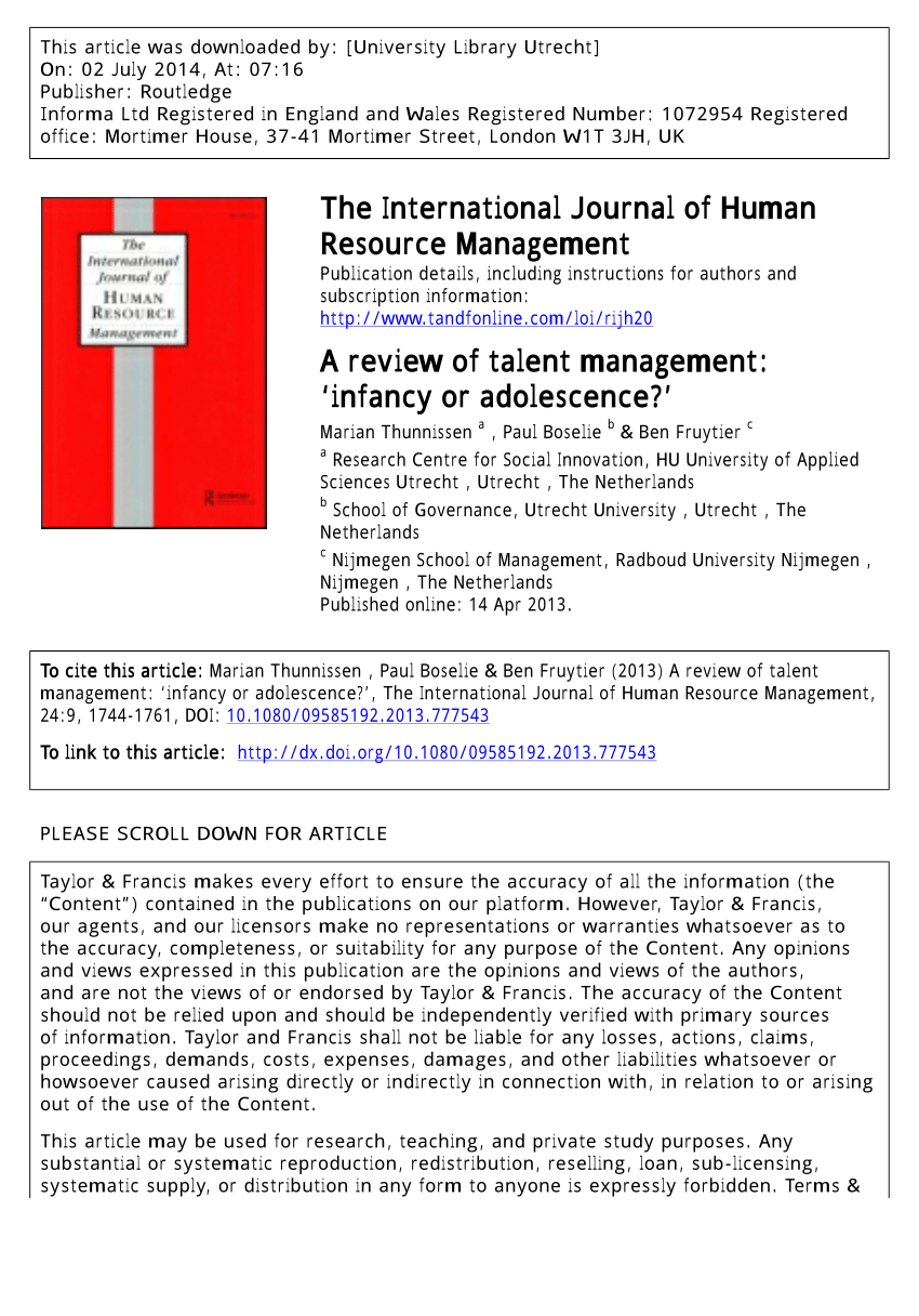 PDF A Review Of Talent Management 'infancy Or Adolescence?'