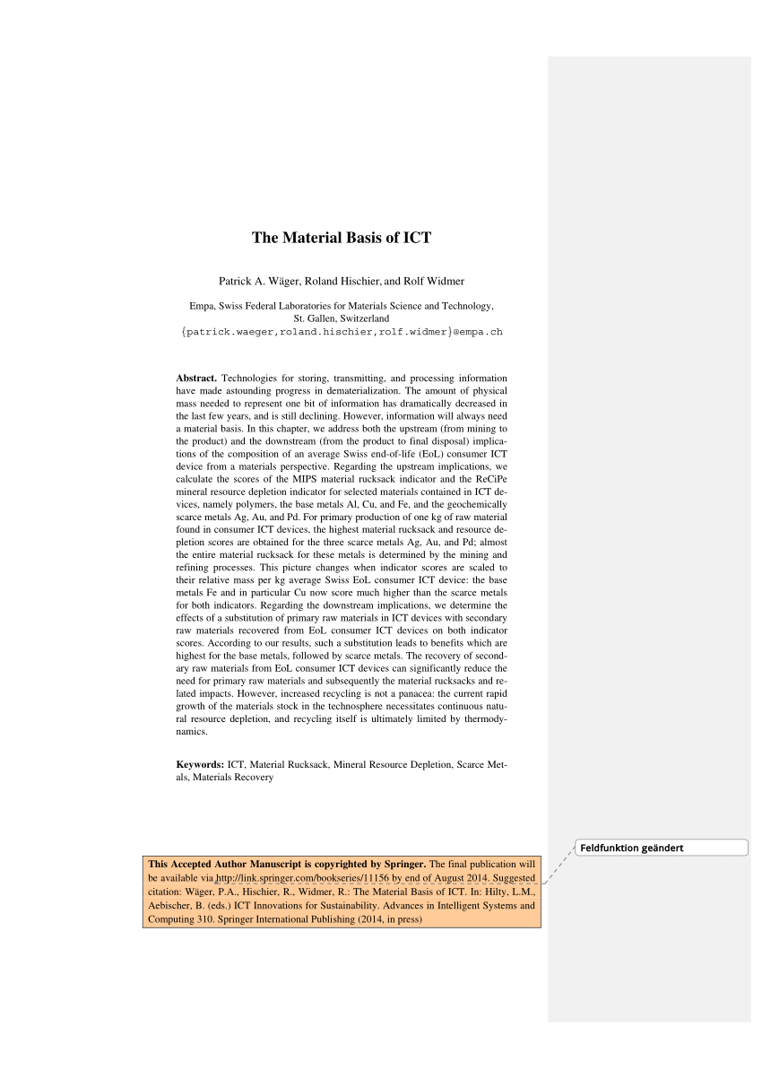 (PDF) The material basis of ICT