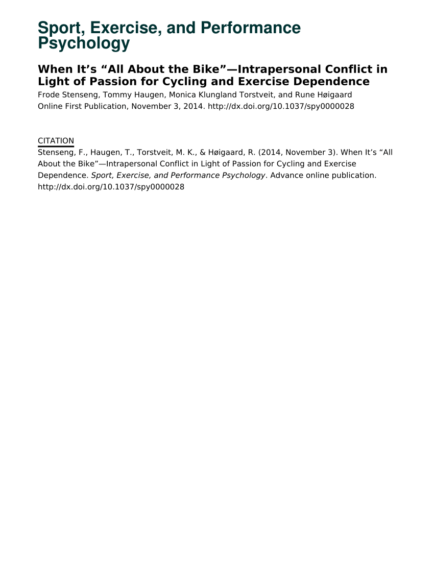 hight resolution of  pdf when it s all about the bike intrapersonal conflict in light of passion for cycling and exercise dependence