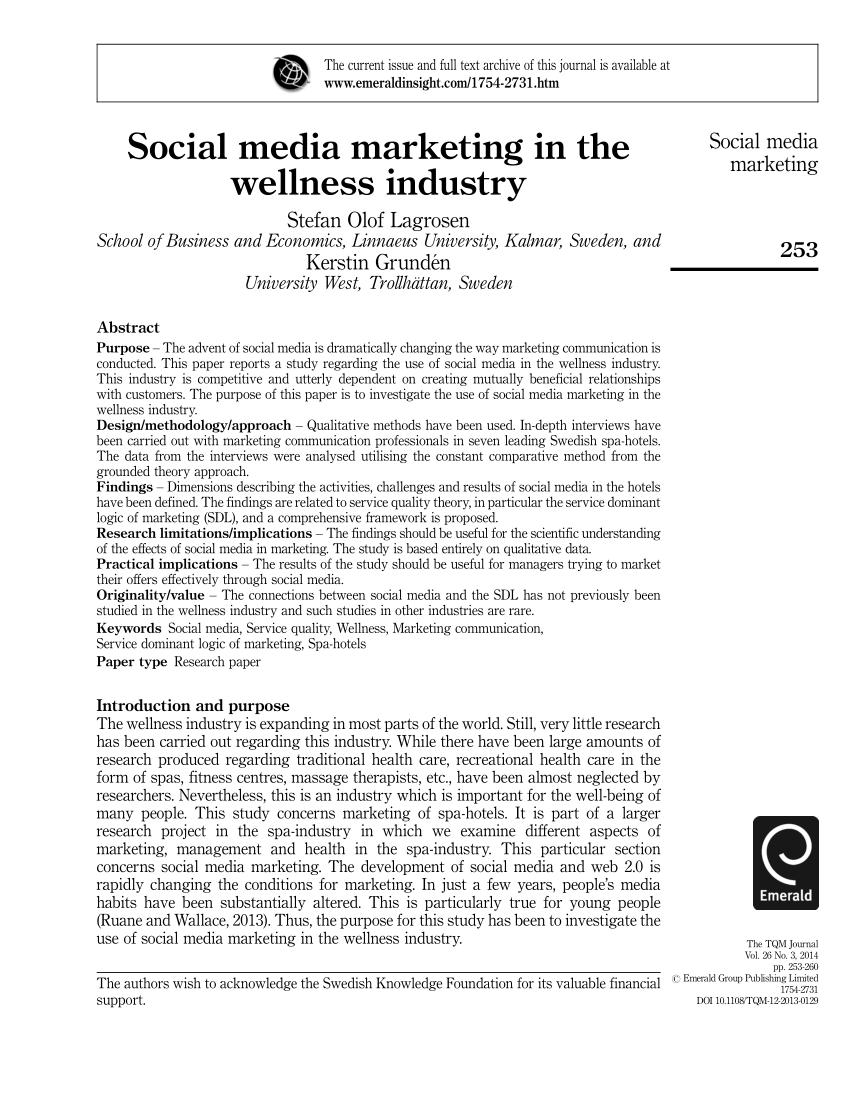 (PDF) Social media marketing in the wellness industry