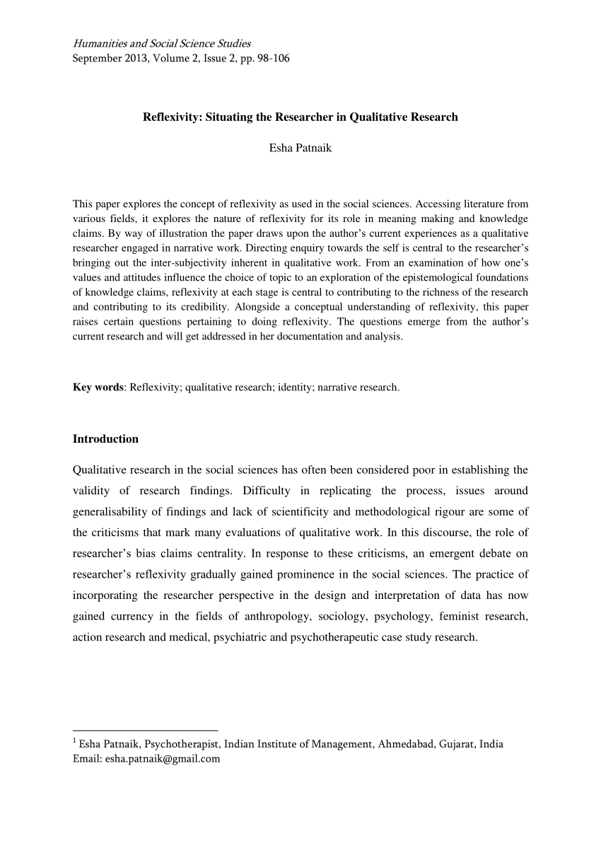 PDF Reflexivity Situating The Researcher In Qualitative Research