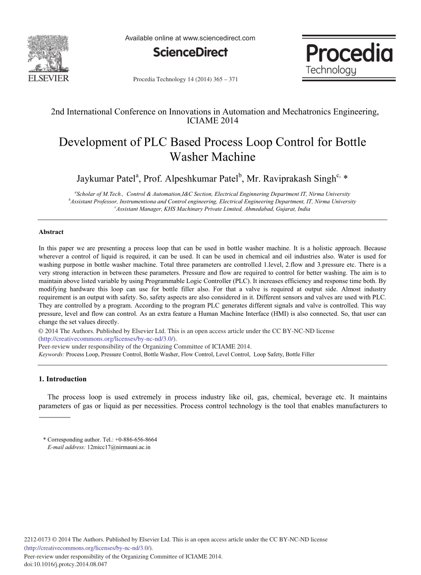 hight resolution of  pdf development of plc based process loop control for bottle washer machine