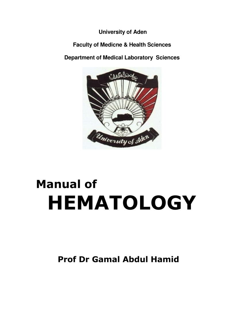 (PDF) Manual of HEMATOLOGY