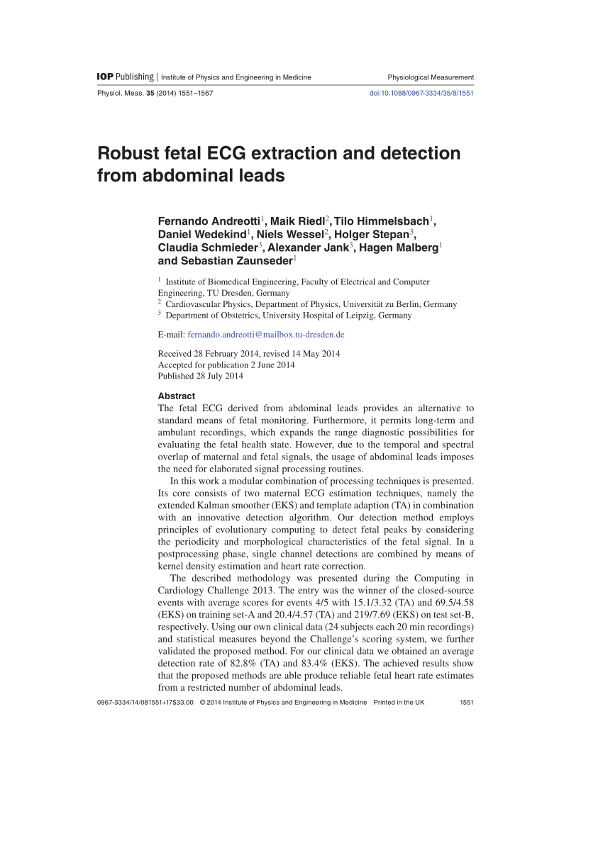 medium resolution of  pdf robust fetal ecg extraction and detection from abdominal leads fernando andreotti