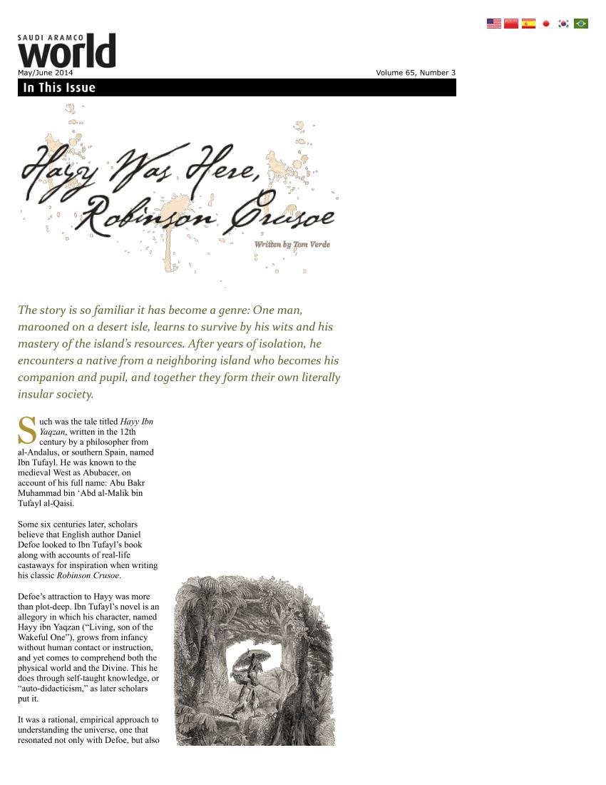 (PDF) Saudi Aramco World: Hayy Was Here, Robinson Crusoe