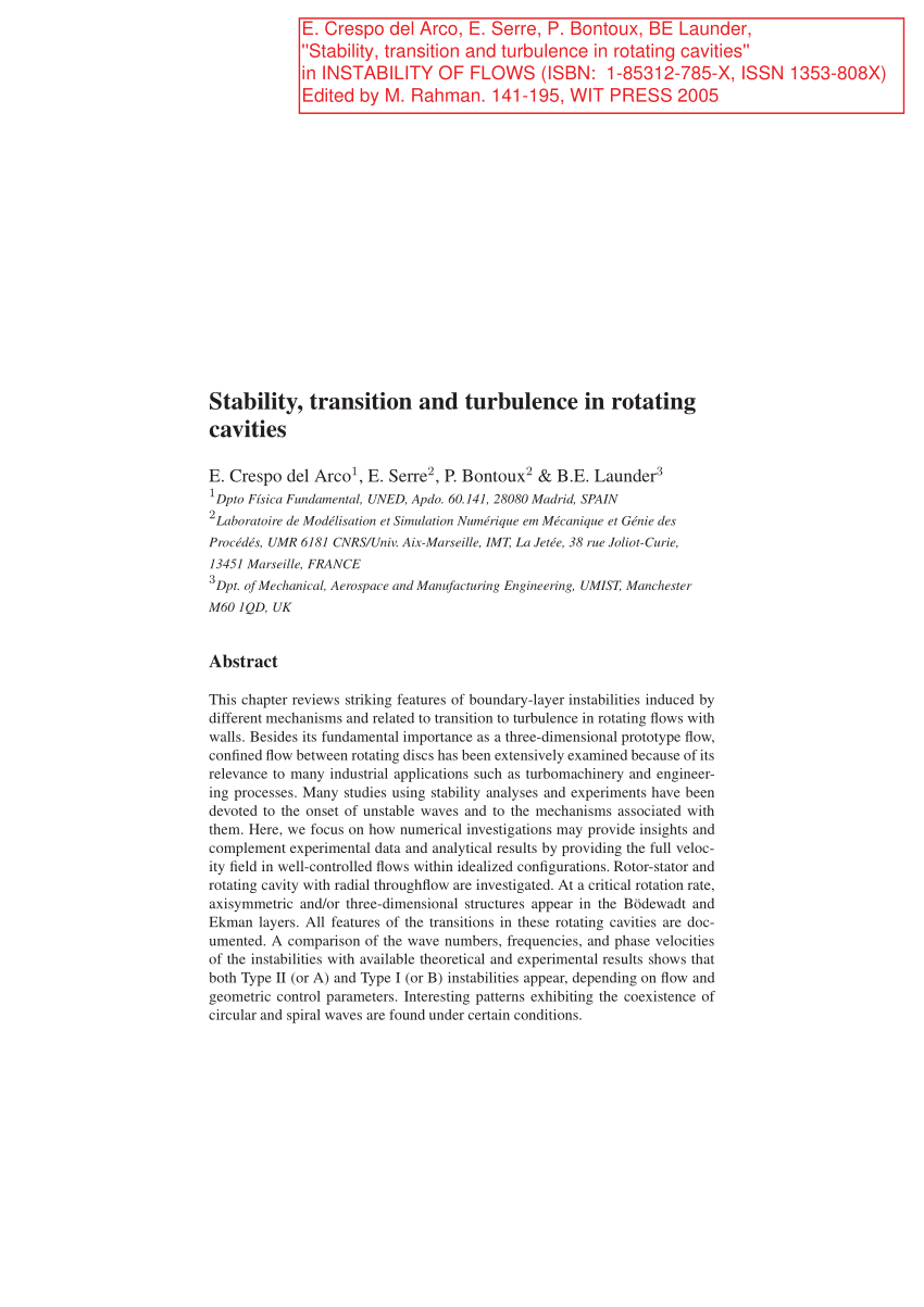 medium resolution of  pdf stability transition and turbulence in rotating cavities