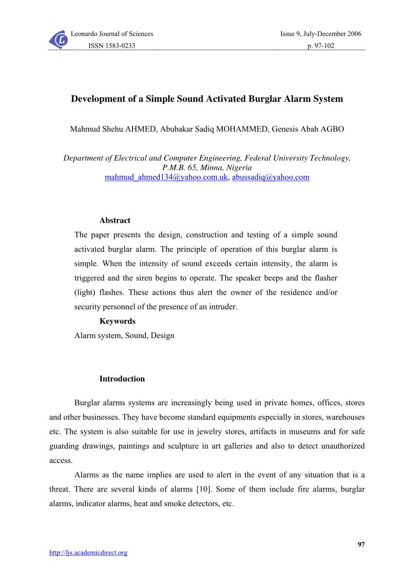 hight resolution of  pdf development of a simple sound activated burglar alarm system