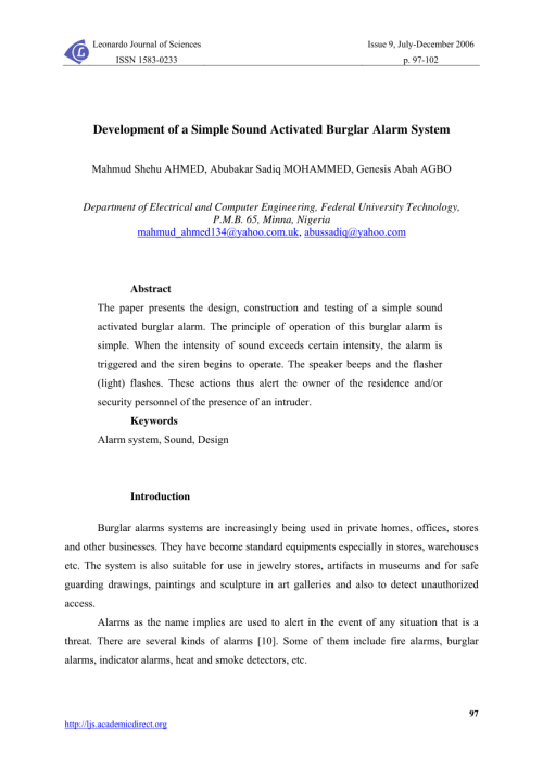 small resolution of  pdf development of a simple sound activated burglar alarm system