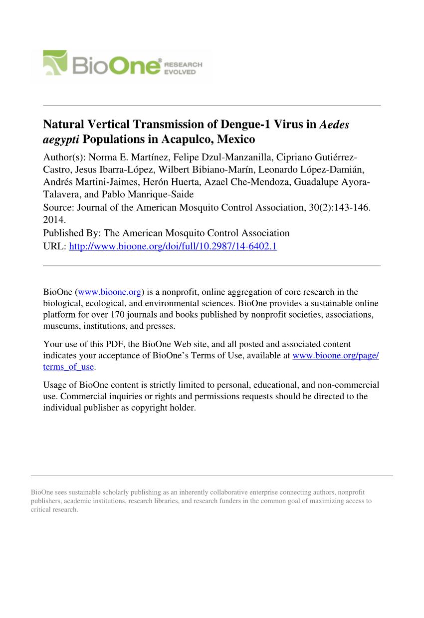 PDF) Natural Vertical Transmission of Dengue-1 Virus in Aedes ...
