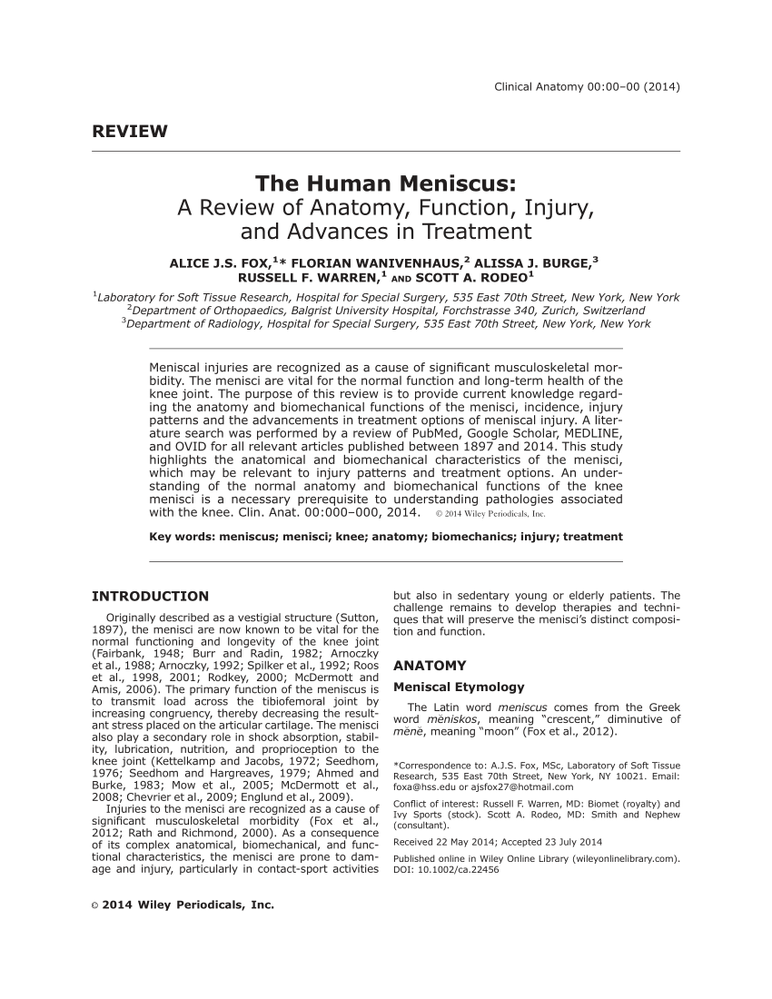 hight resolution of  pdf the human meniscus a review of anatomy function injury and advances in treatment the meniscus anatomy function injury and treatment