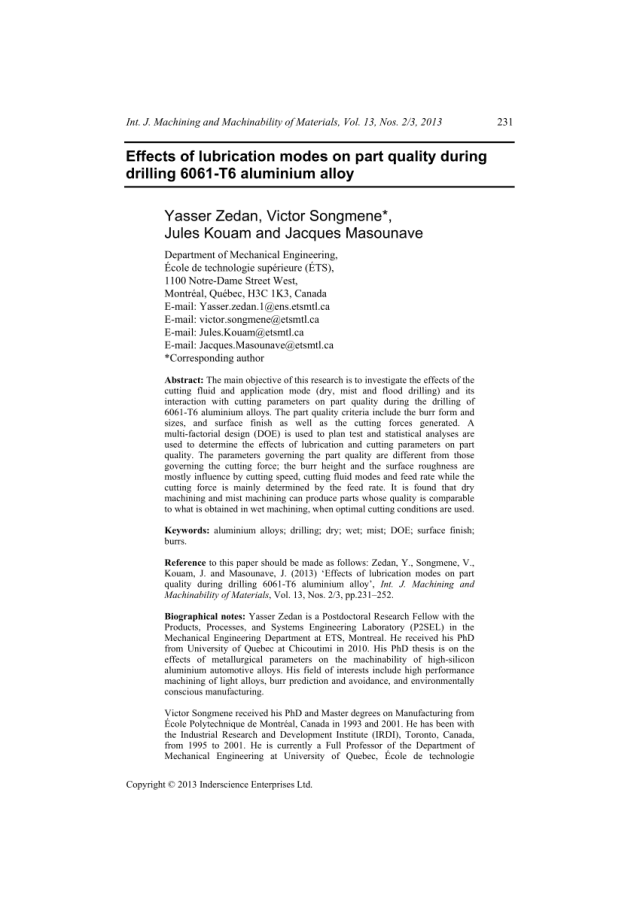 A Comparison Of Five Categories Of Carbon Based Tool Coatings For Dry Drilling Of Aluminum Request Pdf