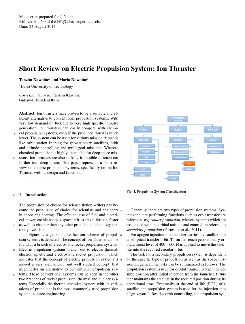 hight resolution of  pdf short review on electric propulsion system ion thruster